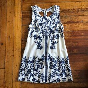 Linen summer dress Blue/White floral